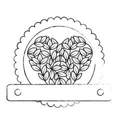 Leaves in heart shape icon vector