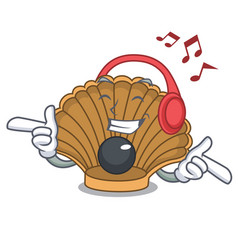 Listening music shell with pearl mascot cartoon vector