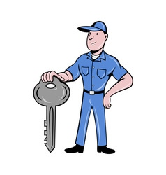 locksmith standing front view with key vector image vector image