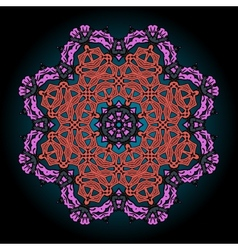 Mandala in pink and red over black background with vector image