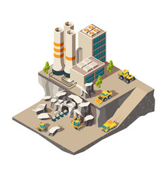 Mining isometric rock mine industry production vector