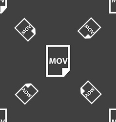 mov file format icon sign Seamless pattern on a vector image