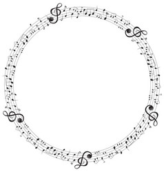 Music notes on round scales frame vector