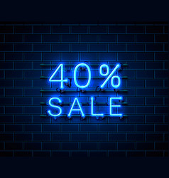 neon 40 sale text banner night sign vector image