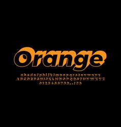 Orange 3d flat alphabet or letter text effect vector
