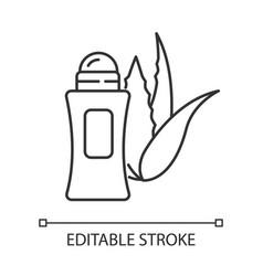 Organic deodorant pixel perfect linear icon plant vector