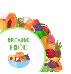 organic fruits circle background cartoon vector image