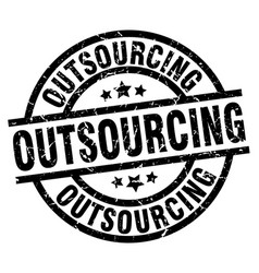 outsourcing round grunge black stamp vector image