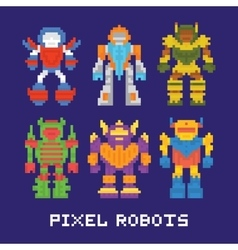 Pixel art isolated robots set vector image