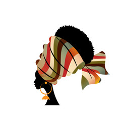 Portrait beautiful african woman in striped turban vector