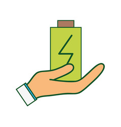 Power electric battery charger in the hand vector
