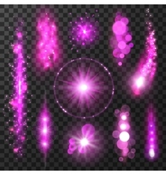 Purple sparkling light trails and flashes vector image vector image