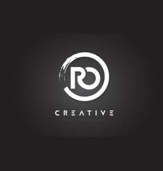ro circular letter logo with circle brush design vector image