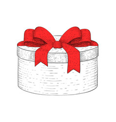 Round gift box hand drawn sketch vector