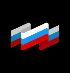 Russia flag ribbon isolated russian tape banner vector