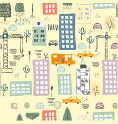 Seamless pattern with cartoon street vector