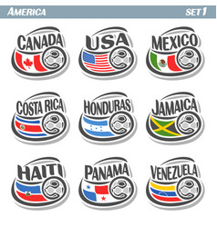 Set icons flags american national teams vector