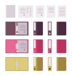 Set of papers files and folders vector