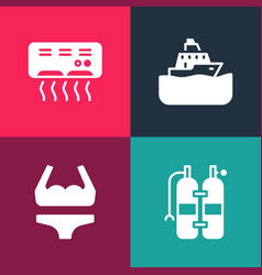 Set pop art aqualung swimsuit cruise ship vector