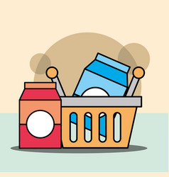 shopping basket package milk or juice vector image