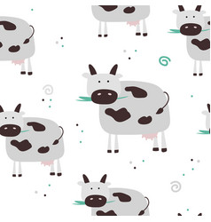 Simple cow seamless pattern vector