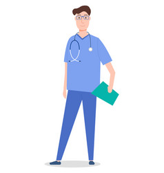 Standing and smiling doctor with vector