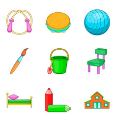 stuff to education icons set cartoon style vector image