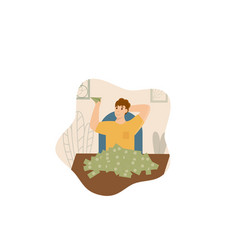 Successful rich man sitting at table isolated on vector