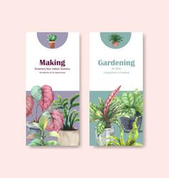 Summer plants flyer template design vector