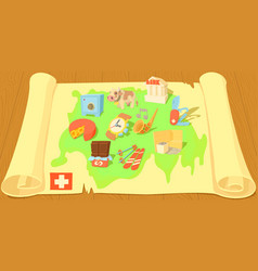 switzerland map horizontal banner cartoon style vector image