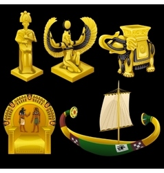 Symbols egypt monuments and other items vector