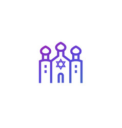 synagogue on white line icon vector image
