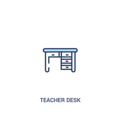 Teacher desk concept 2 colored icon simple line vector