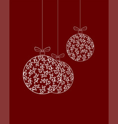 three christmas balls with pattern vector image