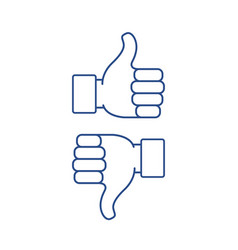 Thumb up and thumb down vector