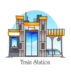 Train station or railway railroad platform vector