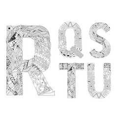 Unusual alphabet doodle style letters on a white vector
