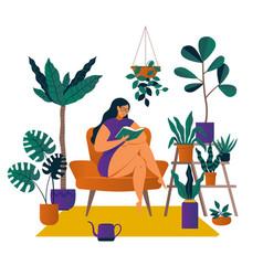 Urban jungle trendy home decor with plants cacti vector
