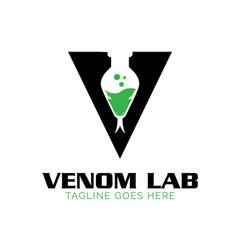 V venom land lab logo snake theme vector