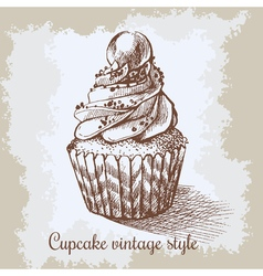 Vintage background Hand drawn sweet cupcake c with vector