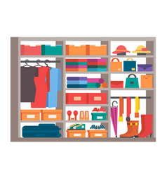 Wardrobe clothes storage closet vector