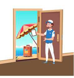 welcome to travel with tourism manager vector image
