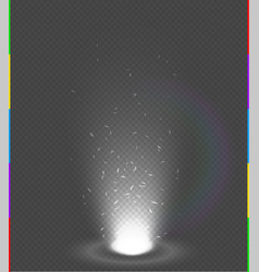 White glow rays night scene with sparks on vector
