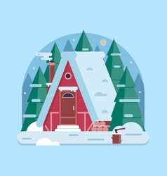 Winter forest house with chimney vector