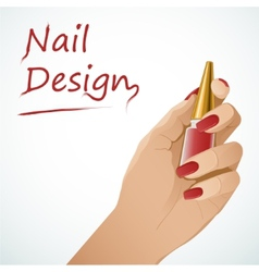 Woman hand holding a bottle with nail lacquer vector image
