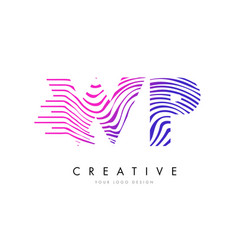 Wp w p zebra lines letter logo design with vector