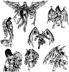 Angels and Demons - Hand Drawn Sketch vector image