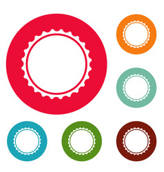 Beer cap icons circle set vector