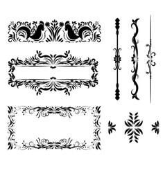 chicken decorative frames retro black vector image vector image