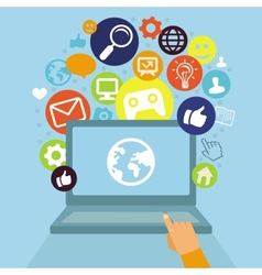 laptop with social media icons vector image